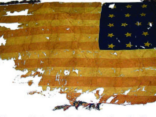 Image of an old American flag that was used during the Civil War.