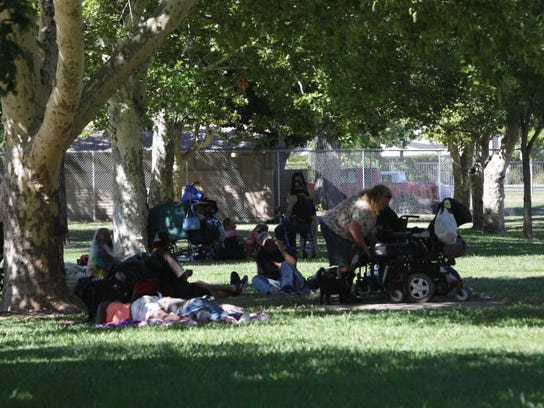 Homeless sleep in South City Park in this 2015 file photo.