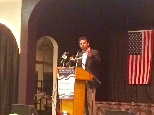 Louisiana Gov. Bobby Jindal speaks to the crowd Sunday at the Black Hawk County GOP Lincoln Day Dinner in Waterloo.