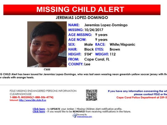 9-year-old Jeremias Lopez-Domingo was reported missing