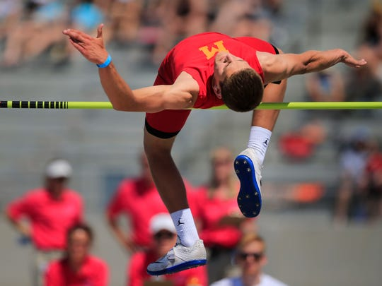 Blair Brooks of Marion competes in the high jump during the Iowa State Track and Field Championship at Drake Stadium Thursday, May 17, 2018.