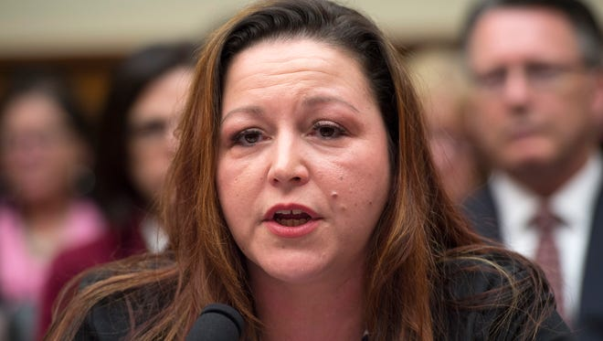 Flint, Mich. resident LeeAnne Walters testifies on Capitol Hill in Washington Feb.  3, 2016, before the House Oversight and Government Reform Committee hearing to examine the ongoing situation in Flint, Mich.