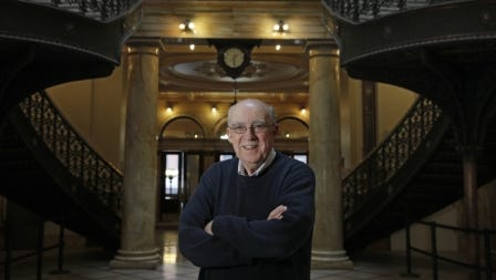 Remarkable Rochester columnist Jim Memmott in the County Building.