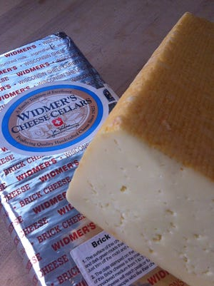 Widmer's Cheese Cellar brick cheese product. Joe Widmer calls the foil-wrapped brick his company's calling card.