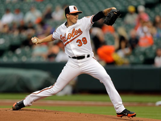 Baltimore Orioles starting pitcher Kevin Gausman throws to the Toronto Blue Jays in the first inning of a baseball game, Thursday, June 12, 2014, in Baltimore. (AP Photo/Patrick Semansky)