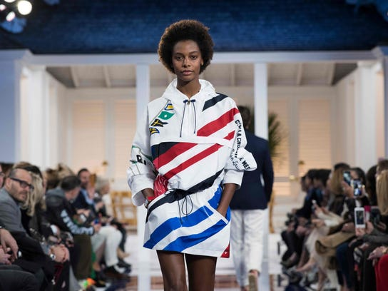A model presents a creation by Ralph Lauren during