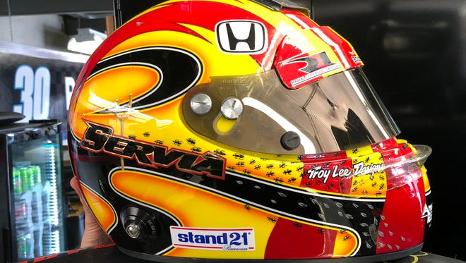 Oriol Servia's helmet he'll be wearing in Sunday's Indianapolis 500.
