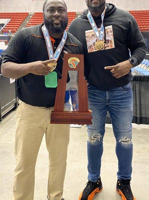 Florida Dairy Farmers Class 1A Coaches of the Year in basketball: Hawthorne's Greg Bowie, left, and Cornelius Ingram.
