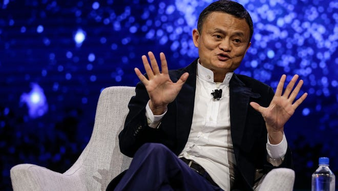 Jack Ma, founder and executive chairman of Alibaba Group, is interviewed by Charlie Rose of PBS during Gateway '17 at Cobo Center, Tuesday, June 20, in Detroit.