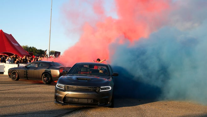 Smoky burnouts were part of the fun at Roadkill Nights Powered by Dodge.