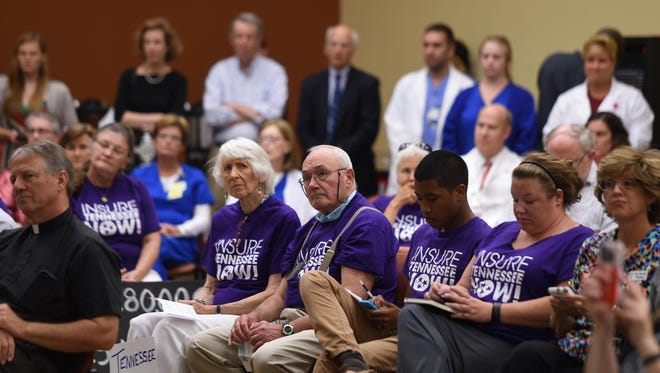 Insure Tennessee supporters listen to Rep. Jim Cooper, D-Tenn., speak about renewing push for the proposal at Saint Thomas Midtown Hospital in Nashville on Monday.