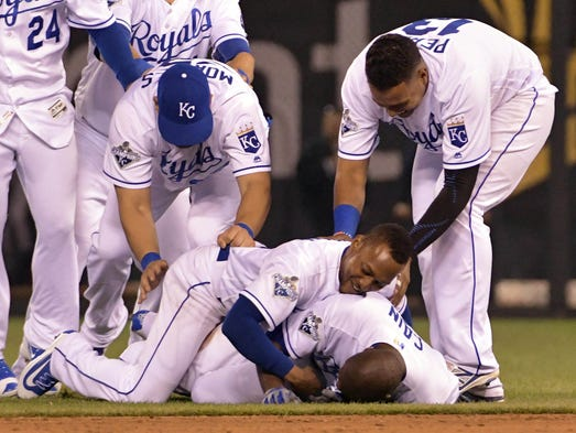 May 3: Royals center fielder Lorenzo Cain is tackled