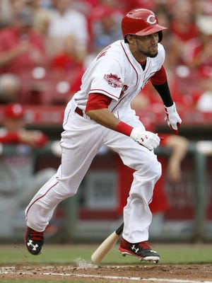 Reds center fielder Billy Hamilton takes off for first on a single.