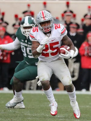 Ohio State redshirt freshman tailback Mike Weber has rushed for 1,046 yards and eight touchdowns this year.