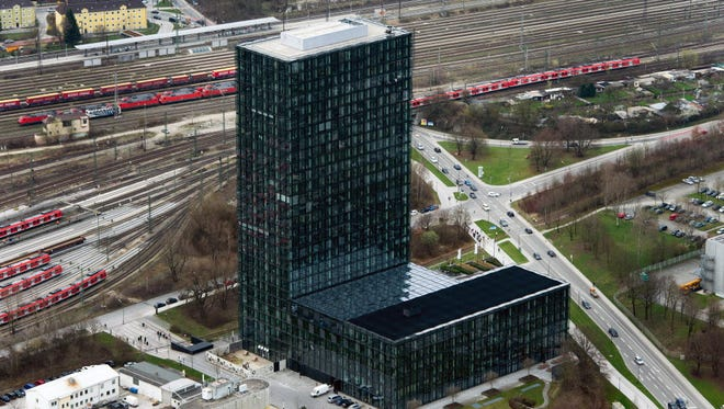 An aerial picture shows the building that houses the Sueddeutsche Zeitung newspaper in Munich, Germany.