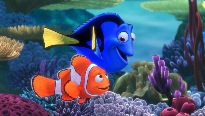 "Characters, Dory and Marlin, in a scene from ""Finding Nemo."""