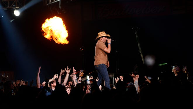 Jason Aldean performed to a sold out crowd at the grand opening concert for the Denny Sanford Premier Center on Oct 3, 2014.