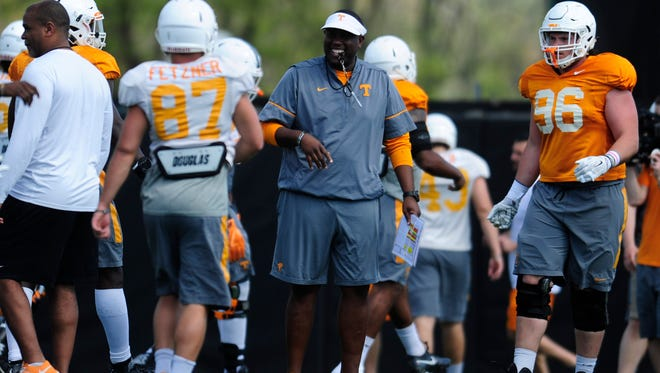 Tennessee offensive coordinator Larry Scott during Tennessee Volunteers spring practice at Anderson Training Facility in Knoxville, Tennessee on Tuesday, April 4, 2017.