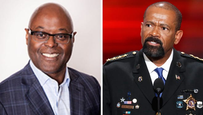 Milwaukee Police Capt. Earnell Lucas (left), now a vice president with Major League Baseball, has announced he will run for Milwaukee County sheriff. Sheriff David A. Clarke Jr. has said he has accepted a job with the Department of Homeland Security but there has been no official announcement of the appointment.