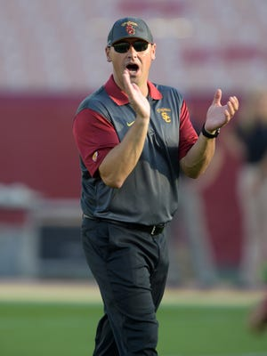 Southern California Trojans coach Steve Sarkisian reacts before the game against the Washington Huskies at Los Angeles Memorial Coliseum.
