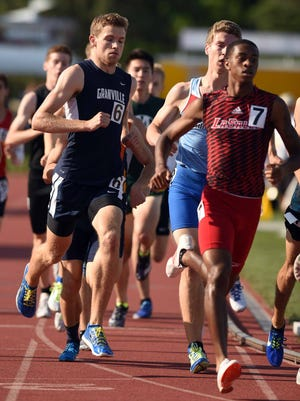 Granville senior Jonny Lukins competes in the 800 this past Saturday during the Division I state meet at Jesse Owens Memorial Stadium. Lukins placed second in the event.