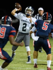Pinnacle quarterback Spencer Rattler throws a pass