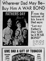 Father's Day gift ideas from Hook's in 1944. War bonds were a popular gift during World War II.