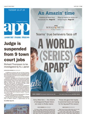 Asbury Park Press front page, Tuesday, October 27, 2015