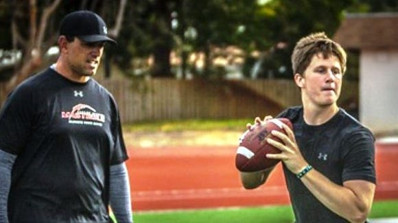 Auburn QB Sean White works with private QB coach Ken Mastrole in Florida.