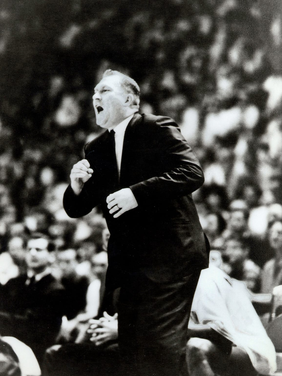 Former TWC and UTEP head coach Don Haskins roars at