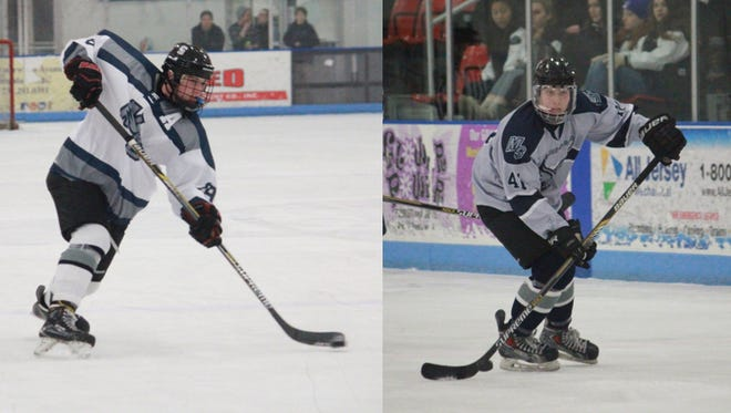 Gavin Gulash (left) and Ryan Lambert (right) recorded their 100th points in Middletown South's 7-2 win over St. Rose on Wednesday.