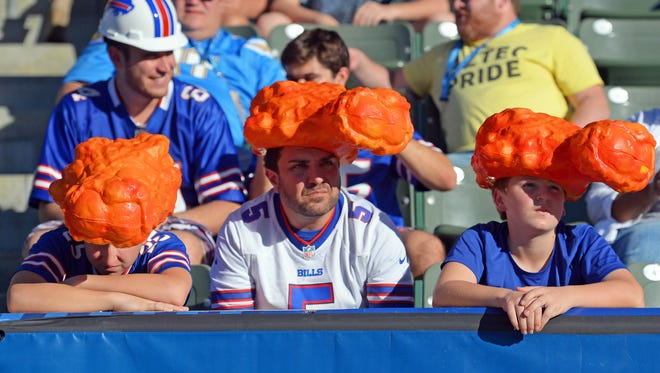 Nov 19, 2017; Carson, CA, USA; Buffalo Bills fans react during the second quarter against the Los Angeles Chargers at StubHub Center. Mandatory Credit: Jake Roth-USA TODAY Sports