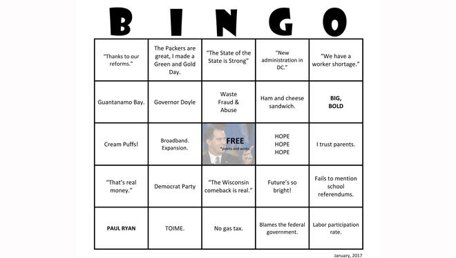 Democratic lawmakers played their version of bingo during Gov. Scott Walker's 2017 state of the state address.