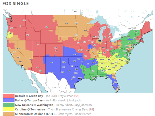 FOX will show the Packers-Lions game to the areas shaded red on the map, which is subject to change throughout the week. Check 506spots.com for the latest updates.