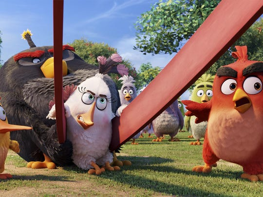 Chuck, voiced by Josh Gad, from left, Bomb, voiced