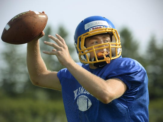 Kimball senior quarterback Jake Borman takes aim for a pass during practice Monday at the school.