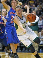 Wood Memorial's Brenna Maikranz (34) drives to the