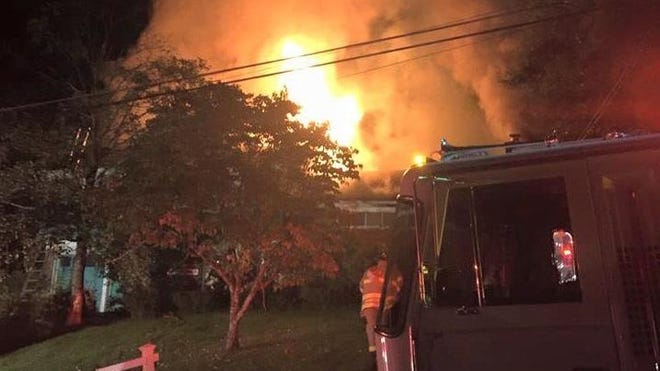 A fire rips through a home at 31 Locust Road in Briarcliff Manor on Saturday morning.