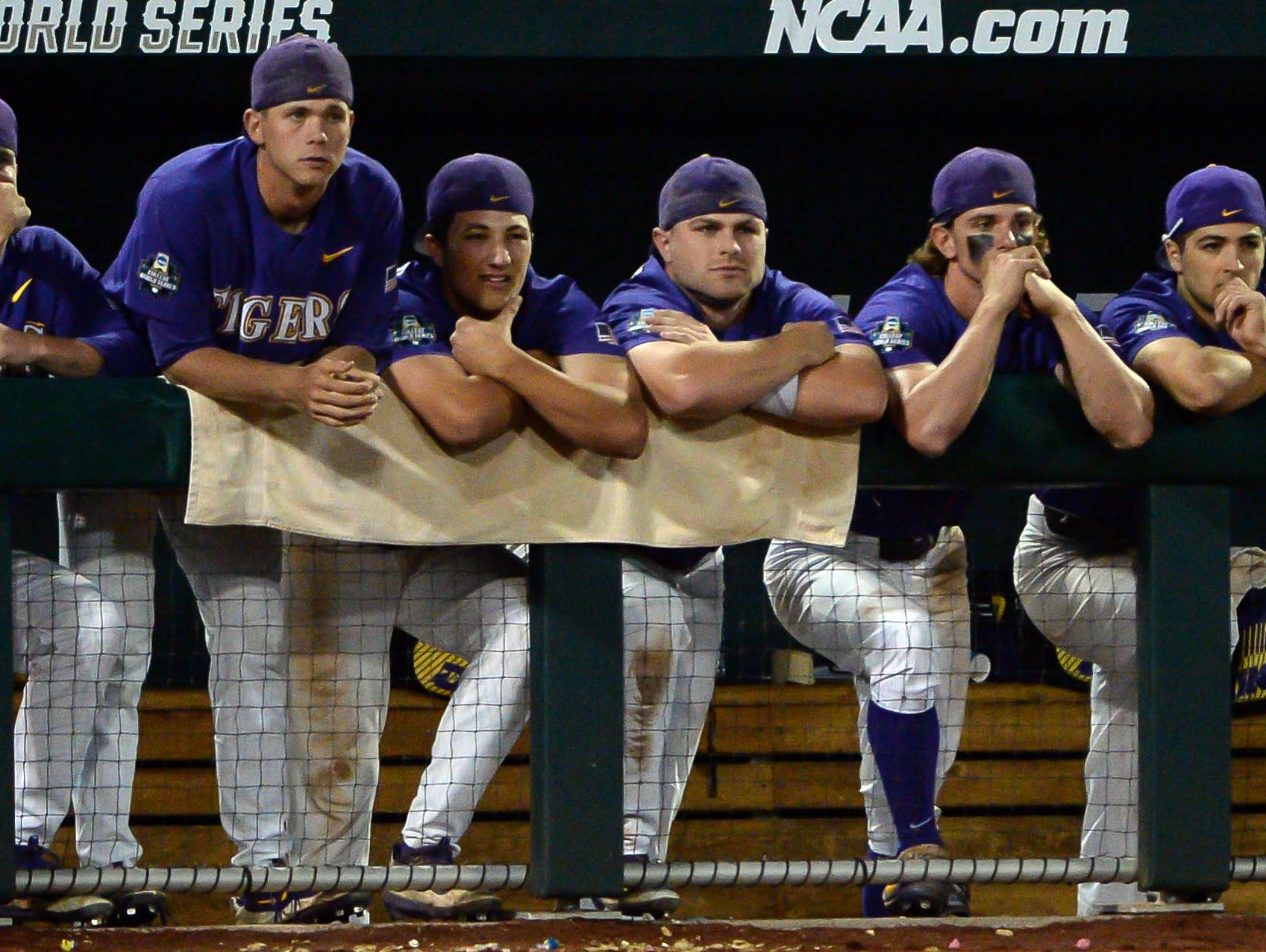 Jun 26, 2017; Omaha, NE, USA; The LSU Tigers bench watches late game action against the Florida Gators in game one of the championship series of the 2017 College World Series at TD Ameritrade Park Omaha. Mandatory Credit: Steven Branscombe-USA TODAY Sports