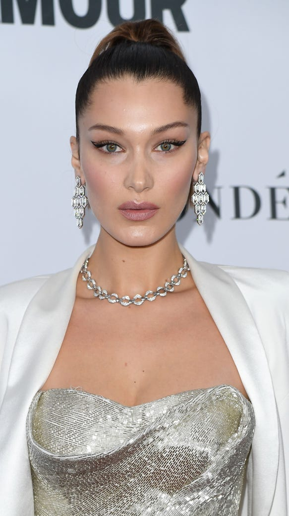 Bella Hadid wore negative space winged liner to Glamour's