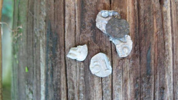 Date nails in pole at Ore Valley Station (Jim McClure's blog)submitted