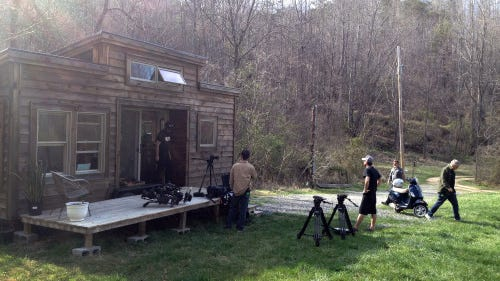 """CNN films at Natalie Pollard's tiny home in Asheville. The crew was in Asheville recently for the filming of a new documentary series entitled """"United Shades of America."""""""