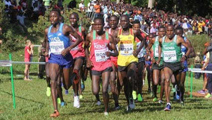 Former Iowa Central runner Stanley Kebenei leads the senior men's pack at the IAAF World Cross Country Championships on Saturday in Aarhus, Denmark.