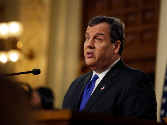 New Jersey Gov. Chris Christie delivers his budget at the Statehouse on Feb. 16