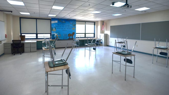 Fewer students will be in each classroom and desks are spaced apart to comply with COVID-19 guidelines at Barnstable High School.