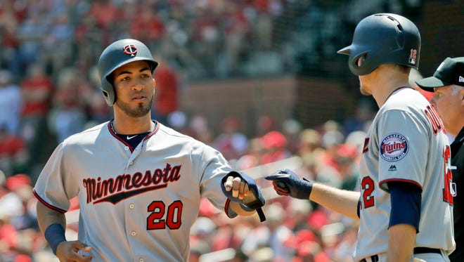 Eddie Rosario (20) has 10 home runs and has helped spark the Twins to a 13-9 start.