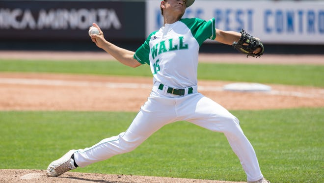 Wall High School pitcher Caleb Heuertz is shown in a game in 2017. The Hawks won Game 1 of their regional quarterfinal against Alpine 19-11 on Friday. The series concludes Saturday in Midland.