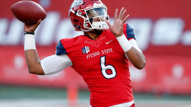 Sep 30, 2017; Fresno, CA, USA; Fresno State Bulldogs quarterback Marcus McMaryion (6) warms up before the start of the game against the Nevada Wolfpack at Bulldog Stadium. Mandatory Credit: Kiel Maddox-USA TODAY Sports