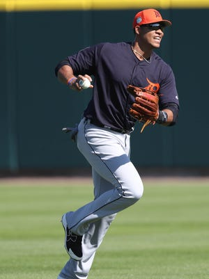 Detroit Tigers outfielder Steven Moya takes part in drills during spring training Monday, Feb. 20, 2017, in Lakeland, Fla.
