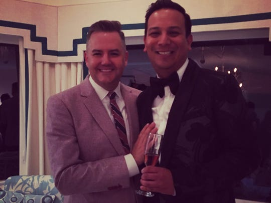 Ross Mathews and Salvador Camarena at the Modernism Week 2017 Christopher Kennedy Compound. Stylist Camarena helped design one of the rooms.